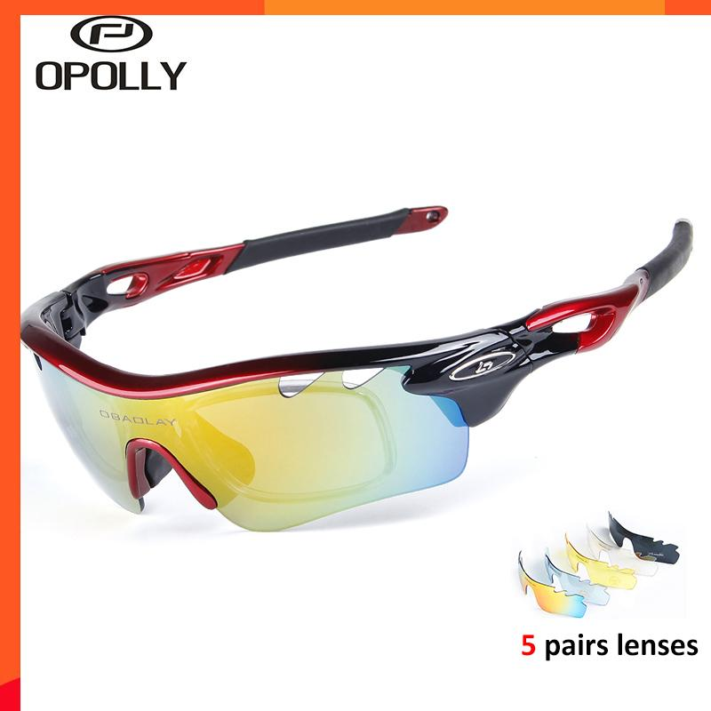 Cycling Men Sunglasses Sport Fishing Polarized Glasses Bike Ride Goggles 5 Lens