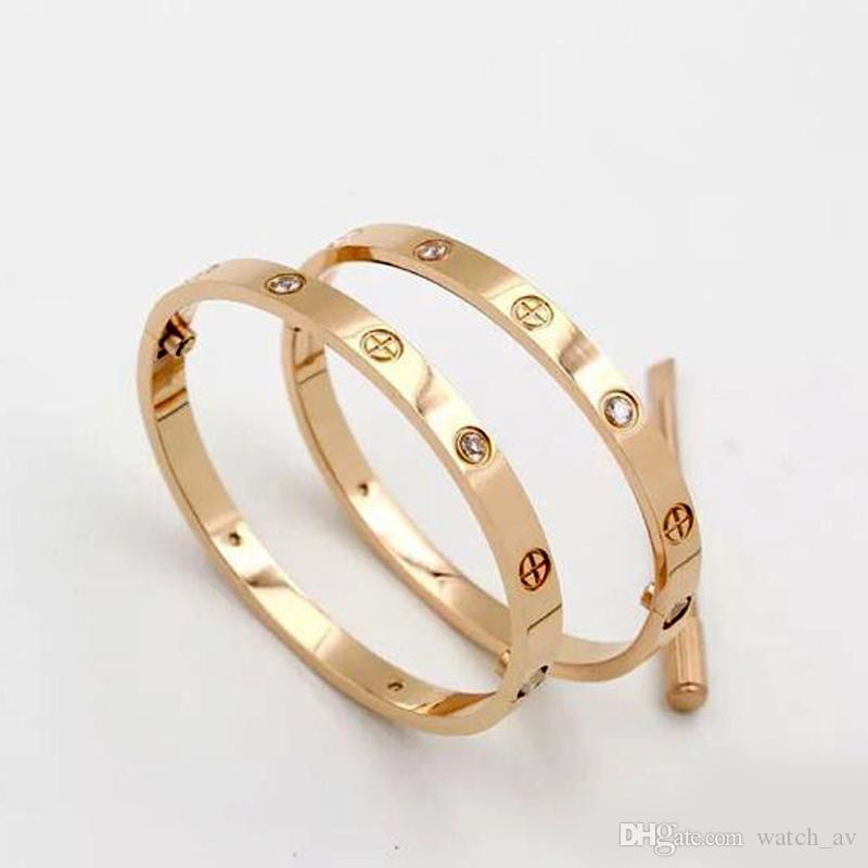 Diseñador de lujo clásico joyería de las mujeres pulseras 18 k oro 316L tornillo de clavo de acero inoxidable brazalete de amor pulsera con bolsa original