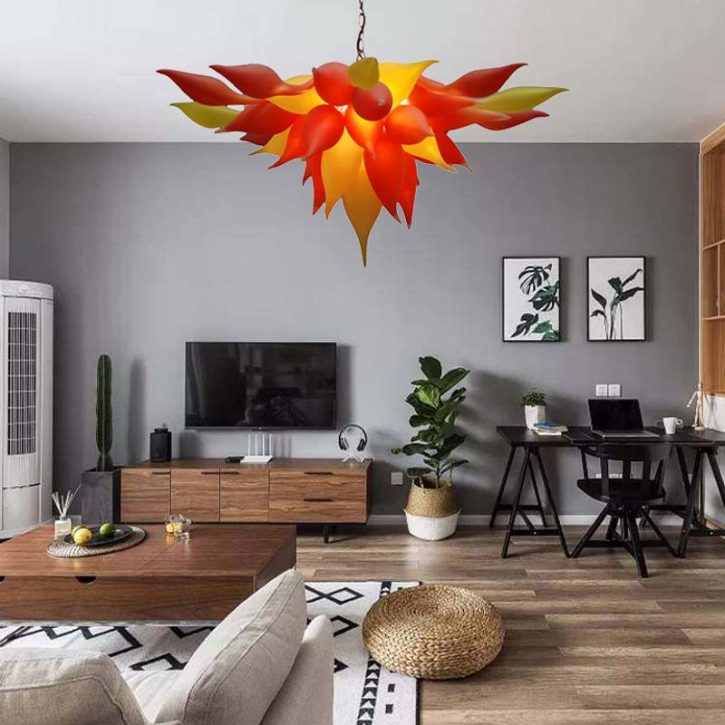 Modern Chandelier LED Light Source Mouth Blown Glass Pendant Light Fixtures Sunset Orange Yellow Hanging Lamp Home indoor Light for Sale