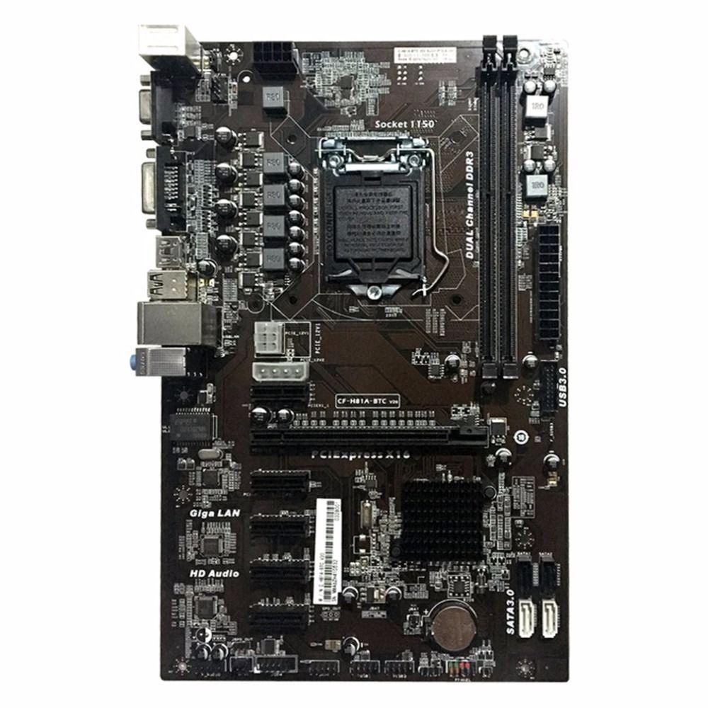 Freeshipping Motherboard H81A-BTC V20 Miner ATX Board LGA1150 Soquete Processador H81 Mainboard Suporte 6 placa gráfica para mineração