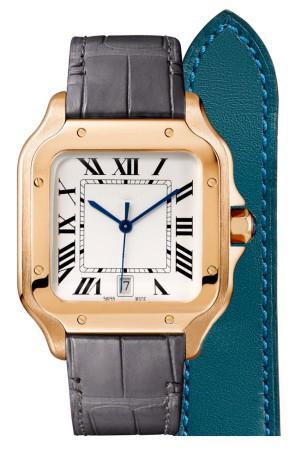 أعلى المجوهرات العلامة التجارية CAR SANTO WGSA0011 الذهب 40MM تاريخ القضية أبيض الوجه الأوتوماتيكية جلد حركة الرجال حزام ساعة اليد الرياضة