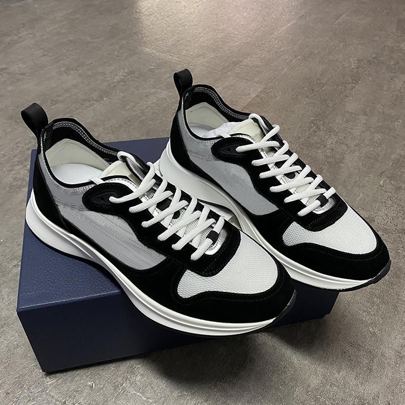Top Quality Mens scarpe nere Grigio B25 Oblique Runner Platform Shoes Vintage cuoio genuino Scarpe Uomo scarpe da tennis bianche Mesh traspirante all'aperto