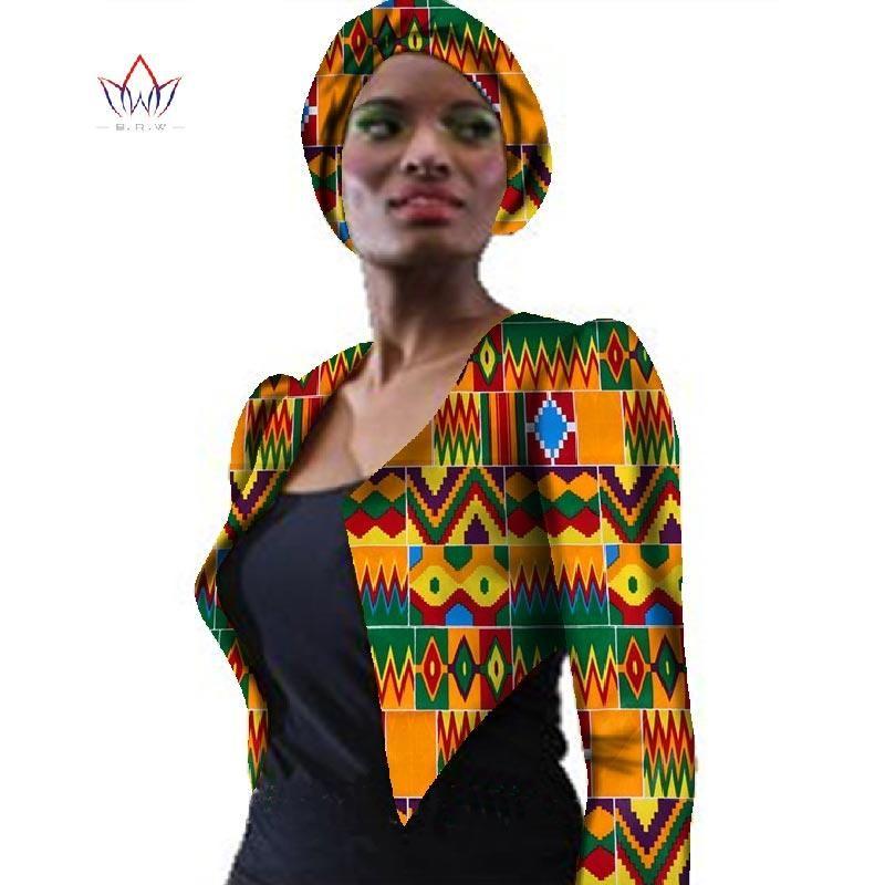 Новый 2019 African Женской одежды OutfitsTrech пальто Базна Африканская печати Куртки пальто Dashiki Плюс размер Outwear WY057