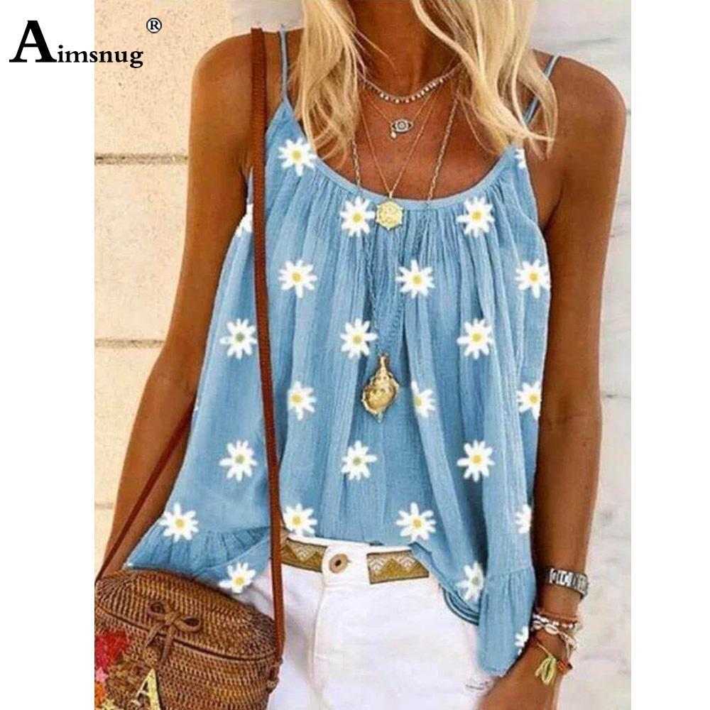 2020 Débardeur été femme loisirs Casual Shirt Plus la taille 5XL Femme Bracelet T-shirts Vêtements manches en vrac Boho Imprimer Hauts floraux