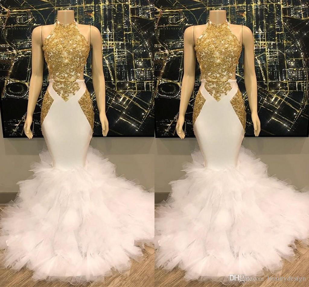 Lindo Halter Jewel Neck Mermaid Prom vestidos longos ouro Applique Lace Evening Vestidos Tulle Ruffles Formal ogstuff Vestidos vestido de festa