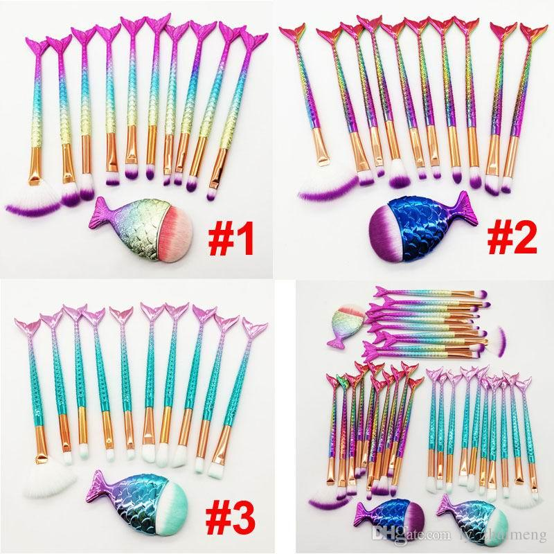 Beauty Mermaid Makeup Brushes Set Eye Shadow Brush Powder Contour Eyebrow Foundation Makeup Brush 3D colored handle 11pcs kit cosmetics tool