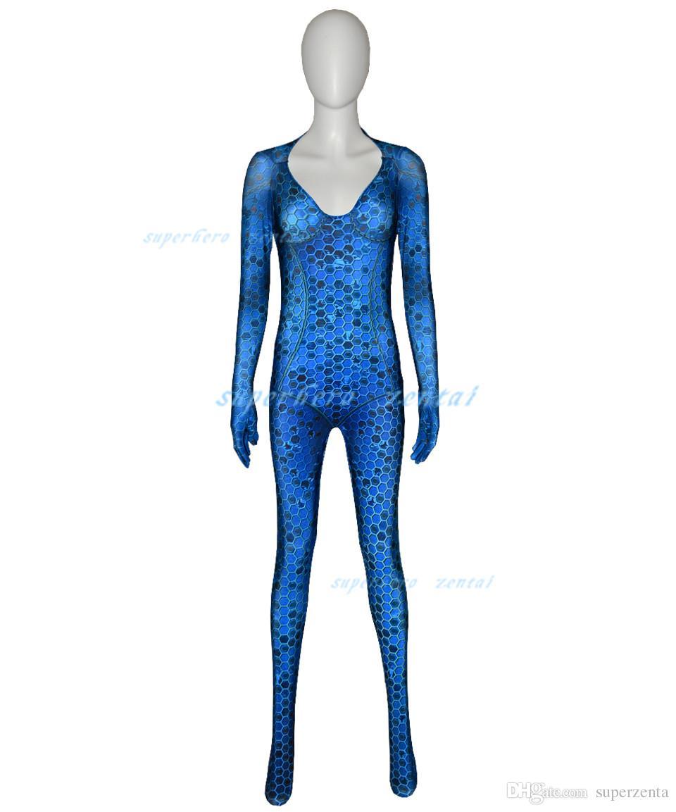 Women Kids Movie Aquaman Mera Queen Cosplay Costume Zentai Bodysuit Suit