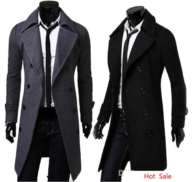 Slim Trench Long Coat Jackets Winter Long Sleeved Double Breasted Overcoat Mens Solid Color Windproof Outerwear Clothing