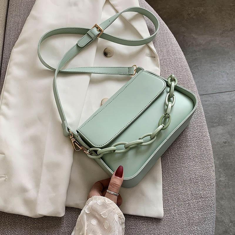 Sólido de color pequeño PU Crossbody bolsos de cuero para las mujeres 2020 Verano Diseñador cadena del hombro Señora viaje Mensajero bolsos # 50