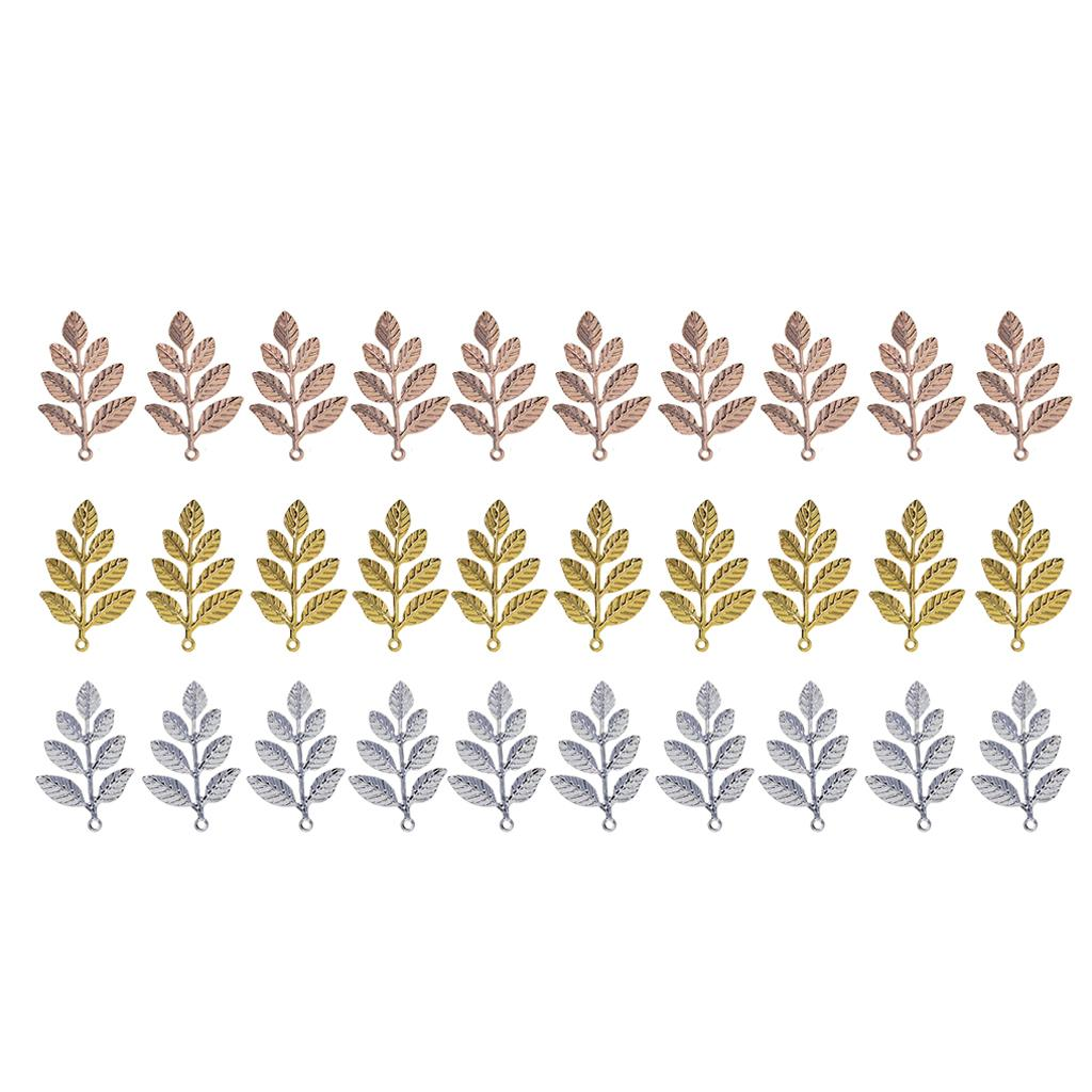 30 Leaf Charms Antiqued Silver Gold Tone Autumn Pagan Wiccan Bead Charm Pendant for DIY Necklace Bracelet Dangle Earrings for Women Crafts
