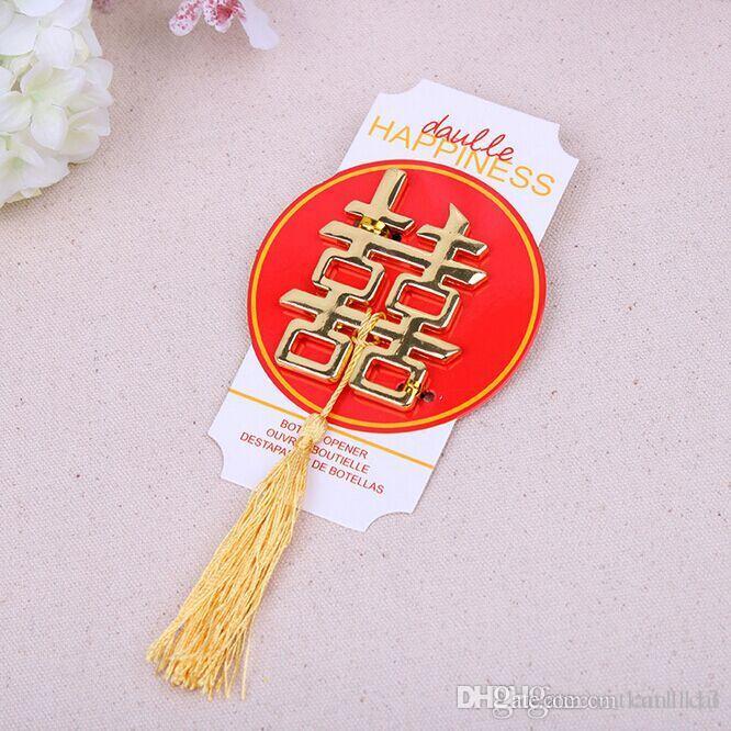 Apribottiglie a doppia felicità Bomboniere e articoli da regalo Articoli per matrimoni Souvenir Regali di nozze per ospiti DHL