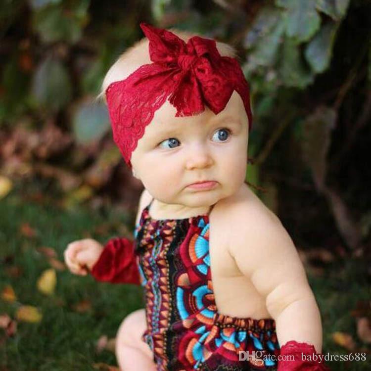 Atacado infantil Lace arco de cabelo faixa preta Baby White Headbands Bow Lace Headband bebê cabelo Acessórios 8colors