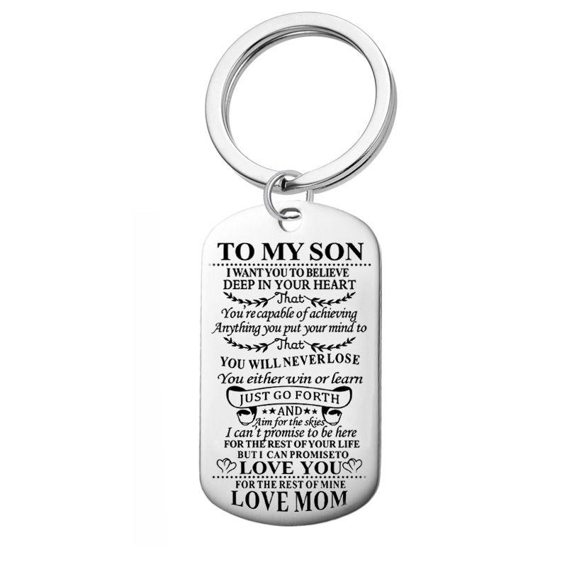 2019 joyería de la venta caliente clave colgante de acero inoxidable de la familia llavero de regalo para las fiestas puede ser personalizado