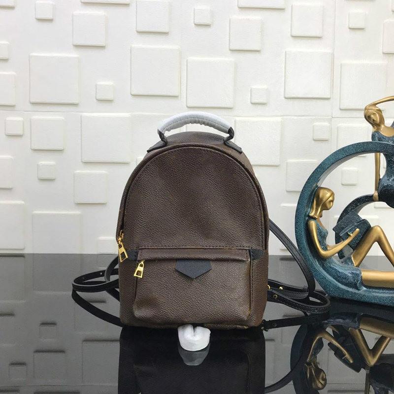 가죽 41562 인쇄 최고 품질의 브랜드 여성 디자이너 패션 팜 스프링스 배낭 미니 정품 가죽 아동 가방 여성