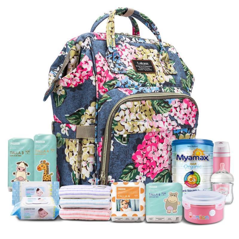 حقيبة مليئة بحفاظات الزهور على شكل حقيبة ظهر مضادة للماء متعددة الوظائف حقيبة سفر مع كيس معزول