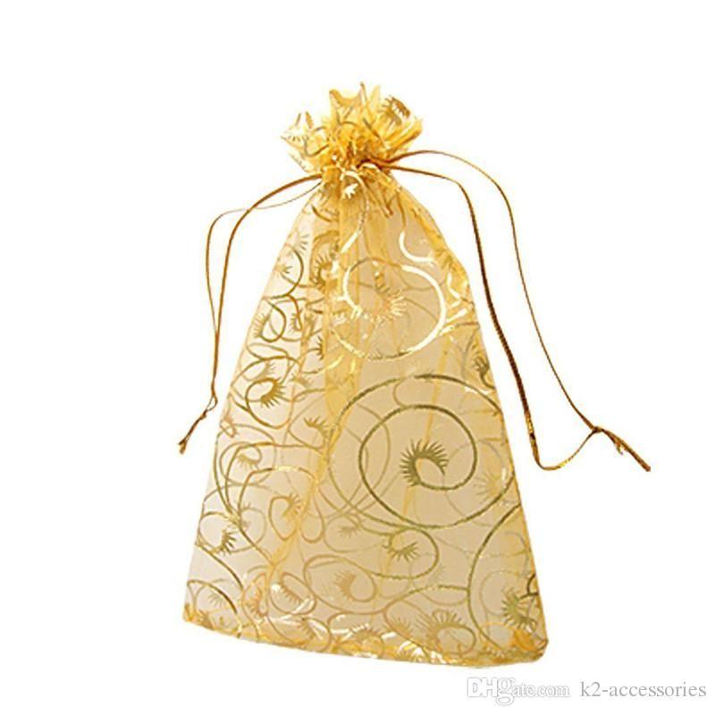 100Pcs 9x12cm WHITE black red pink blue eyelash Organza DRAWSTRING Jewelry Packing Pouch Wedding Favor Gift Bags