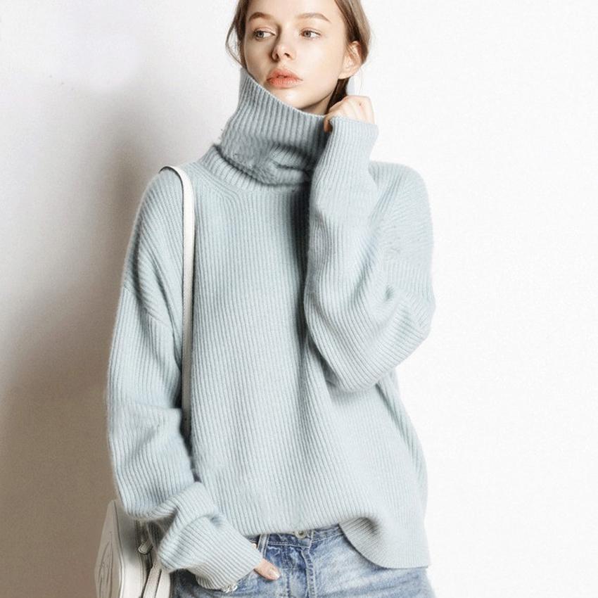 Горячая Продажа 5Colors Женщина пуловер и свитер 100% кашемир Вязаной Перемычки Зимней Новая мода Толстая теплая женская одежда девушка Топы T200101