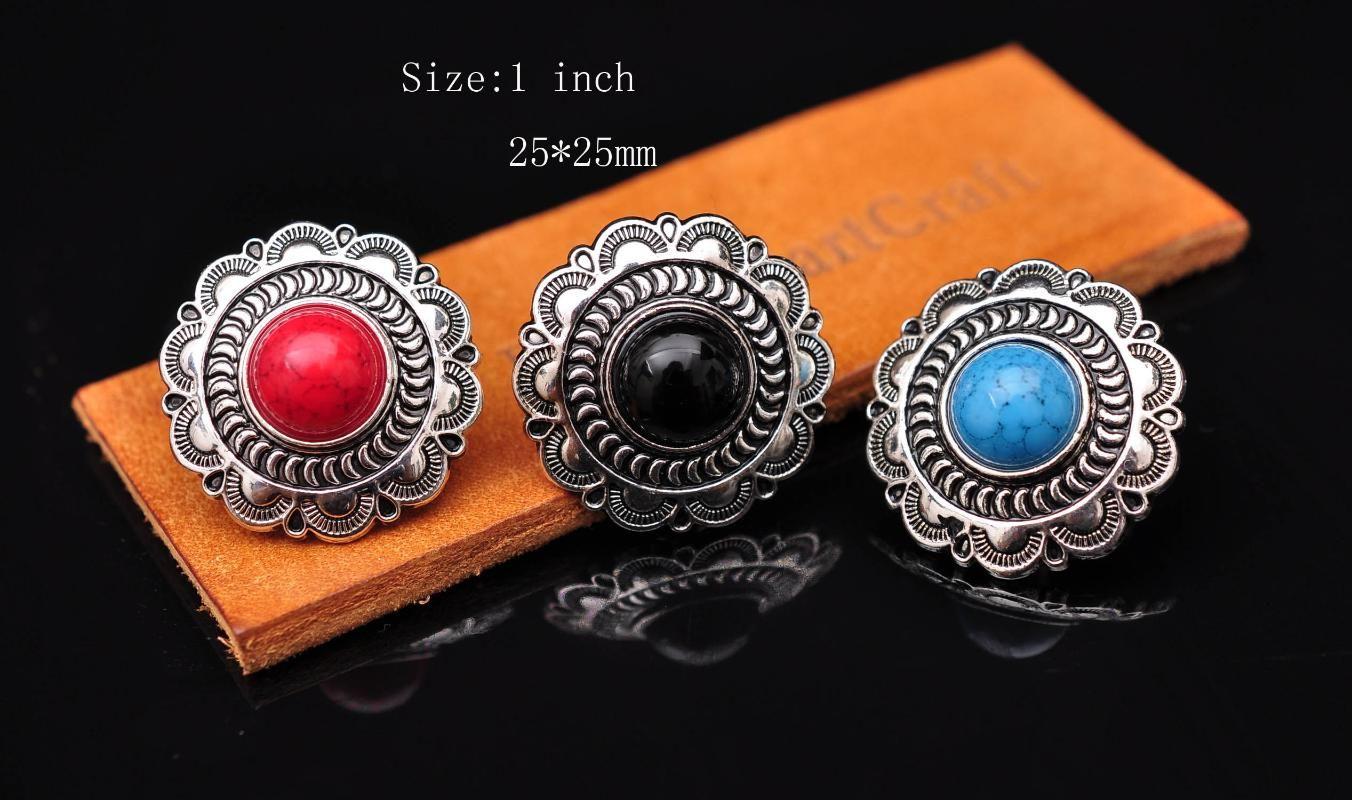 "1"" Bling Silver Flower Engraved Turquoise Concho For Belt Bag Shoes Clothes Leathercraft Wallet Decor Screwback Lot 6pcs"