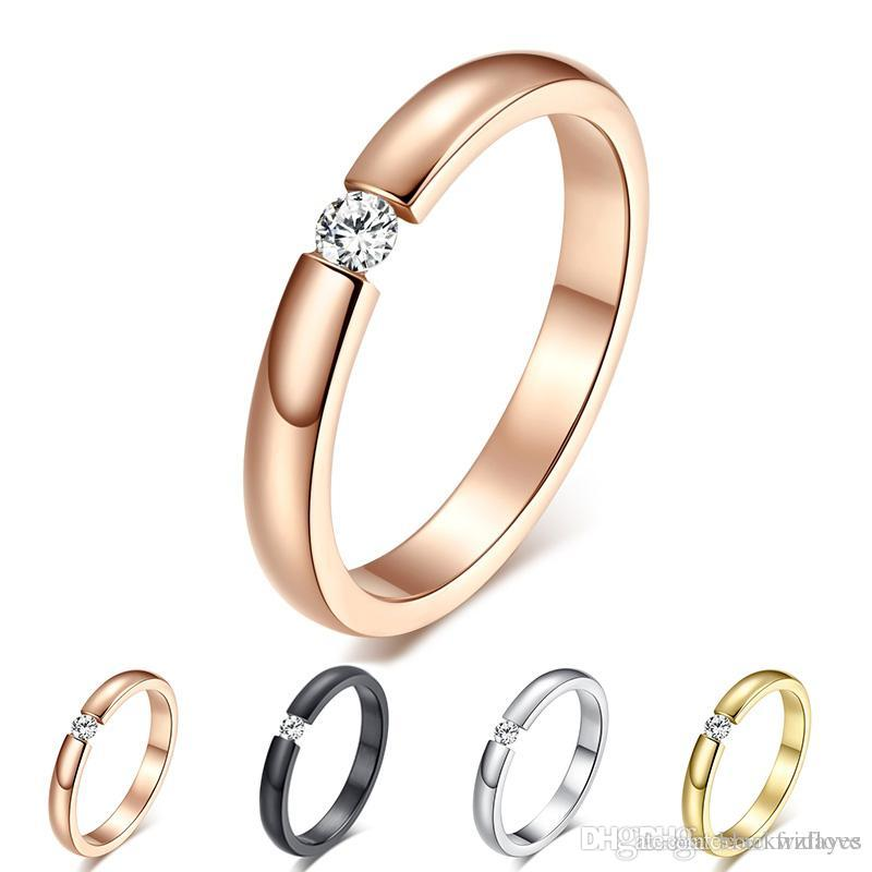 Anello di fidanzamento per donna Acciaio inossidabile Argento Dorato Colore Dito Ragazza Regalo Formato USA 5 6 7 8 9 10