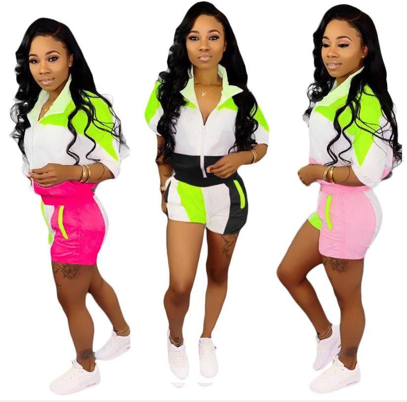Yaka Rahat Spor Hit Renk Dikiş Takım Orta Kollu + şort Pantolon Eşofman Kadın Parlak Renk Spor Açık Spor Eğlence Takım Elbise HTS201