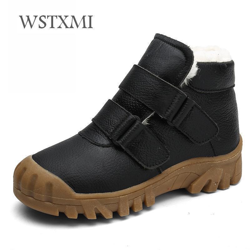 2018 зимняя детская обувь ботильоны мальчики модные ботинки для детей из натуральной кожи водонепроницаемые ботинки мартин девушки кроссовки для снега Y190525