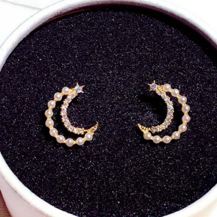 de lujo de diseño nuevo de la manera clásica hermosas preciosas perlas pendientes de diamantes lindo luna genealógicos para mujer niñas