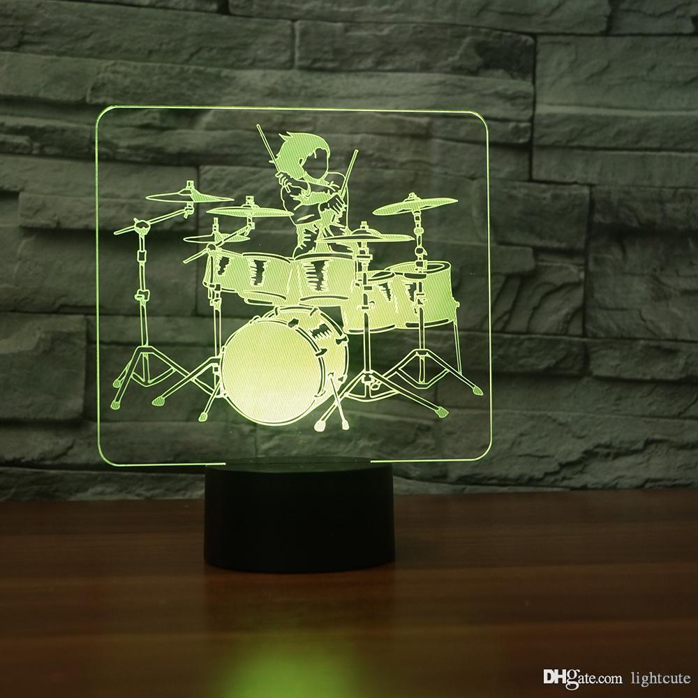 Hi-Hat Tom-Tom Drum 3D Illusion Night Light Touch 7 Color Change Home Decor Baby Girl Boy LED Lamp Kids Gift Christmas Xmas Gifts