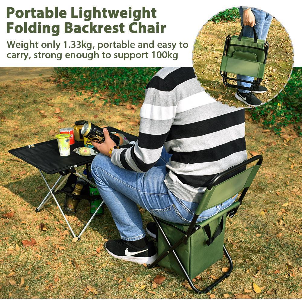 GeerTop Pesca Camping cadeira portátil leve Folding Chair com Cooler Bag Multi-função encosto do assento Caminhadas Turismo