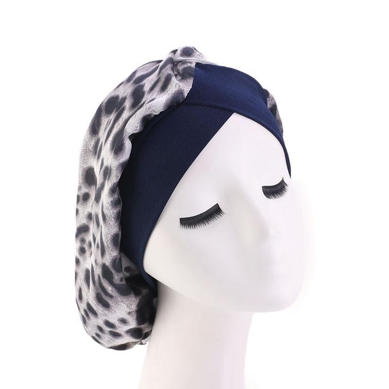 Satén Noche mujeres Sleep Cap Capó Cubierta de la cabeza del sombrero de seda del pelo Amplia Banda elástica Chemo Caps Hijab Turbante sombrero Estilismo joyería