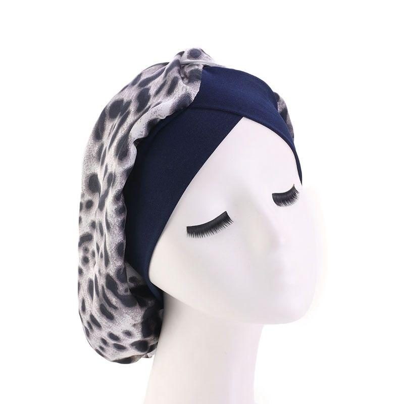 Kadınlar Saten Gece Uyku Cap Saç Bonnet Şapka İpek Merkez Kapağı Geniş Elastik Bant Kemo Hicap Turbante Şapka Saç Şekillendirme Mücevher Caps