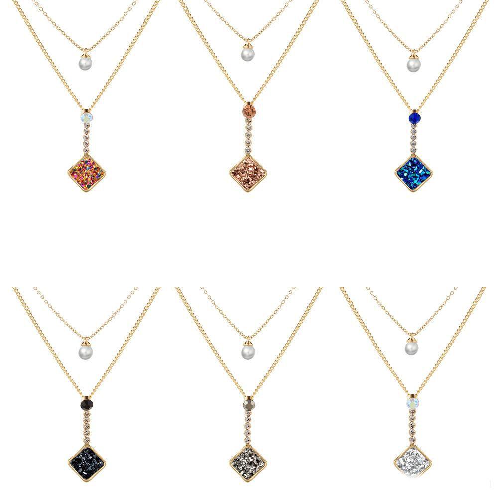 collana pendente in pietra quadrilatero della moda per le donne a mano regalo fai da te a più strati collana di perle clavicola cerimonia nuziale del partito dei monili della catena