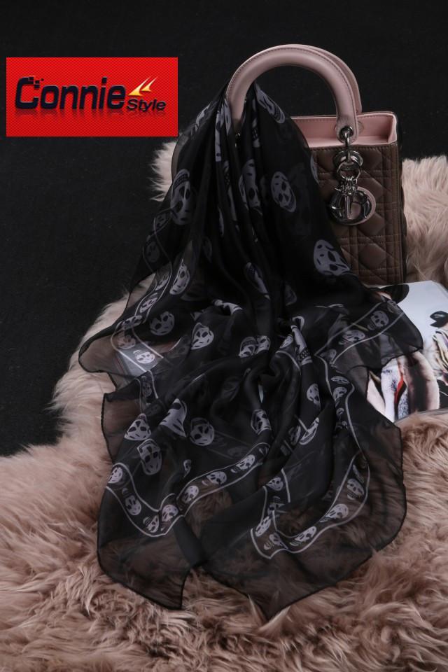 Designer Fashion-superiore classico europeo Womens Skull Scarf Stampa seta elegante delle signore Wrap
