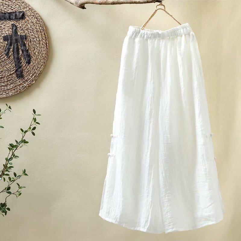 D'Origine Style Ethnique Femmes Vêtements Han Chanvre Large Jambe Pantalon Plaque Bouton Coton Solide Couleur Zen Thé Pantalon Y200418