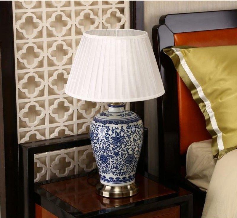 China porcelana azul y blanca lámparas de escritorio moderna de China regulable lectura Flor Lámpara del dormitorio principal cubierta Sala cara de la cama mesa de iluminación
