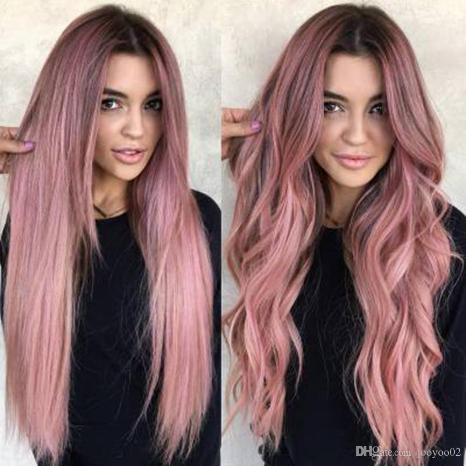 Heiße Perücke gefärbt rosa Farbverlauf langes lockiges Haar große Welle Chemiefaser Haube Hochtemperatur-Seide jooyoo