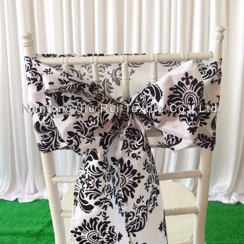 """8 """"* 108""""백색 검은 색 풀어 놓는 Taffeta 의자 새김 / Taffeta 의자 활 100PCS는 결혼식 훈장 사용을 위해 자유로운 선박으로 사용한다"""