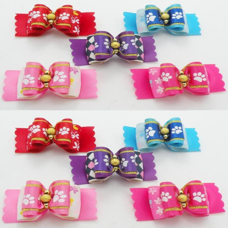 50pcs/lot Hot sale Love heart pattern valentine Pet Dog Cat Hair Bows Dog Hair Accessories Tie Pet Grooming Products Y79