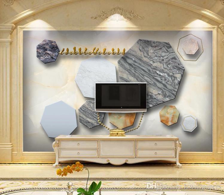 Personalizar fondo de pantalla 3D Textura de mármol sólido 3D geometría del papel pintado murales de fotos Sala de TV Sofa Hotel papel tapiz de fondo Decoración