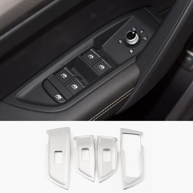 Car Window Glass Lifting Buttons Panel Decoration Decals Trim For Audi Q5 FY 2018 2019 LHD Stainless Steel Interior Accessories