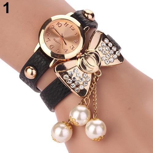 12015 New Women Rhinestone Bowknot Imitated Pearl Bracelet Quartz Faux Leather Wrist Watch 5emk