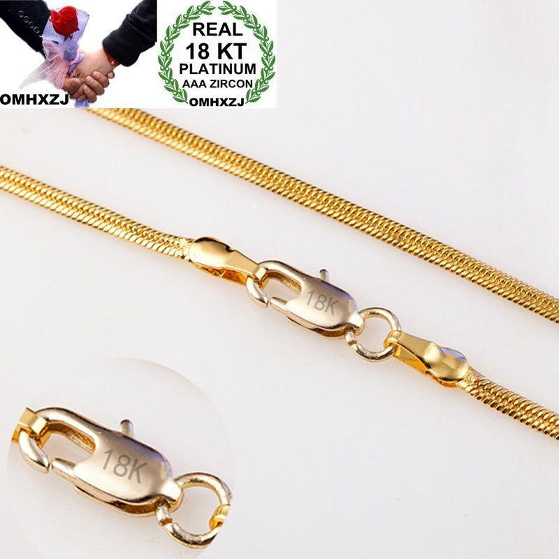 OMHXZJ Wholesale Personality Fashion OL Woman Girl Party Wedding Gift Gold 2MM Flat Snake Chain 18KT Gold Chain Necklace NC152