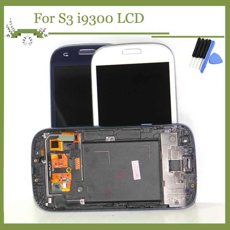 Galaxy S3 i9300 Için LCD Ekran Çerçeve Ile Mavi Ekran Ile Dokunmatik Ekran Digitizer Meclisi