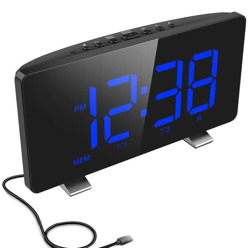 Digital-Wecker, ELEGIANT Wecker für Schlafzimmer mit FM Radio, Dual-Alarm, 6,7-Zoll-LED-Bildschirm, USB-Anschluss zum Aufladen, Autos