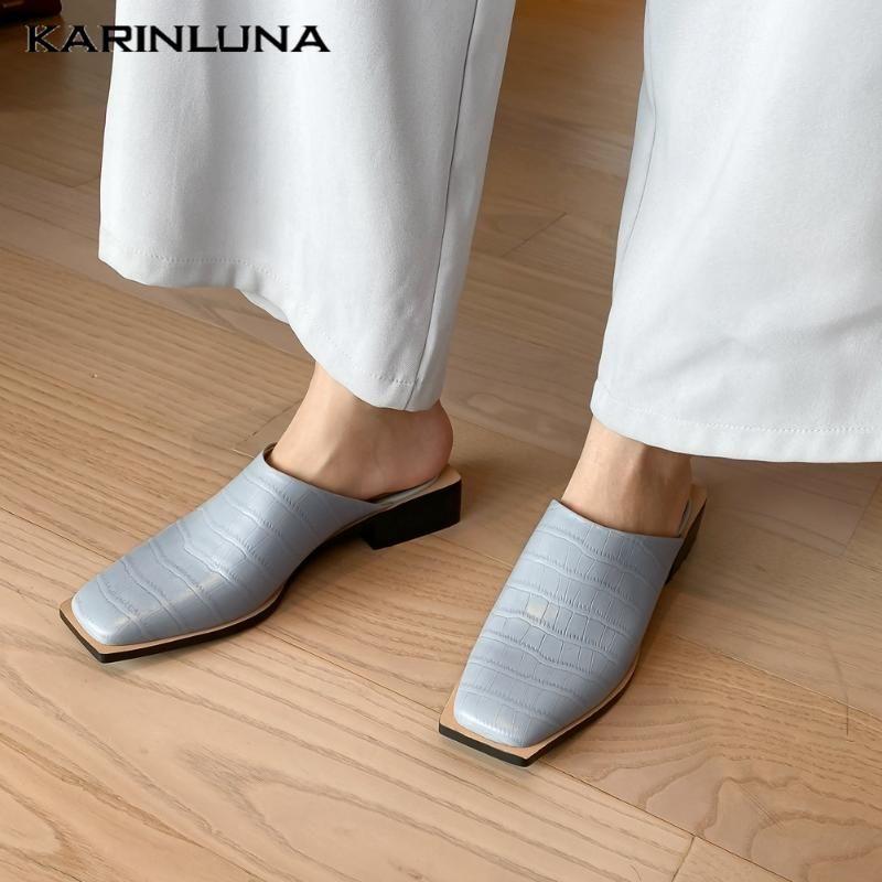 Karin 2020 nouvelle mode en cuir véritable Mules Sandales carrées Talons place Toe Pumps Chaussures Femmes Robe