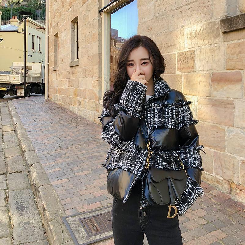 NOVO Mulheres Inverno Quente Brasão 2019 borla de lã curta jaqueta solta Magro Fur Patchwork Glossy Cotton Brasão Outwear