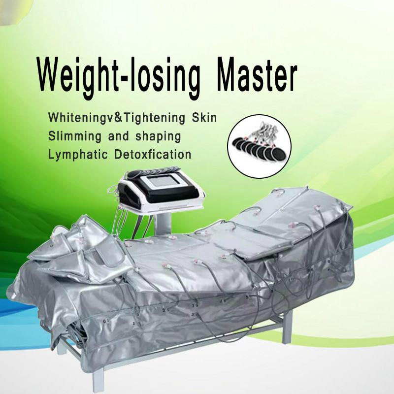 3 IN 1 Far Infrared Pressotherapy Elektrische Muskelstimulation Sauna Luftdruck Pressotherapie Lymphdrainage Körper Schlankheits-Ausrüstung