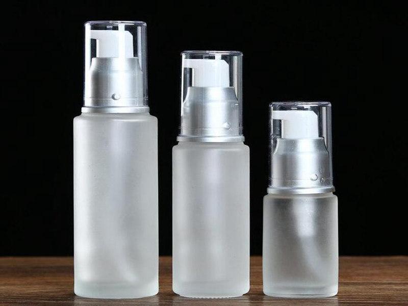20ml 30ml 50ml givré bouteille en verre, les emballages cosmétiques, les bouteilles de pulvérisation de lotion, pompe de presse bouteilles en verre Livraison rapide
