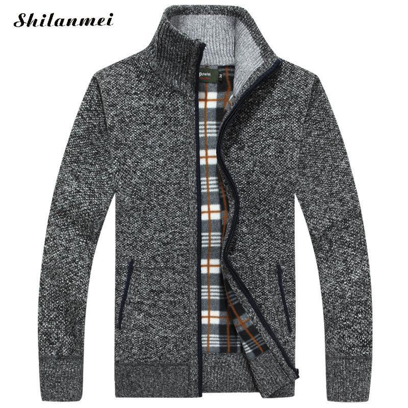 Mens Fleece Sweate New Autumn Winter Warm Cashmere Slim Fit Wool Zipper Jacket Coat Casual Sweater Men Knitted Sweater Overcoat
