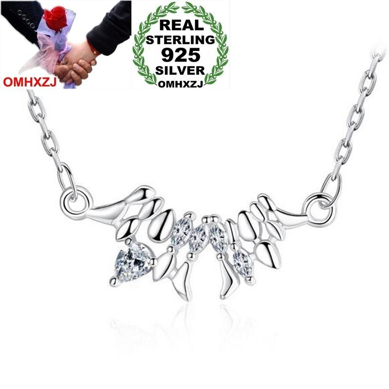 OMHXZJ Wholesale Fashion Sweet Woman Girl Gift Heartbeat Note 18 inch 925 Sterling Silver Twisted Chains Pendant Necklaces NK19