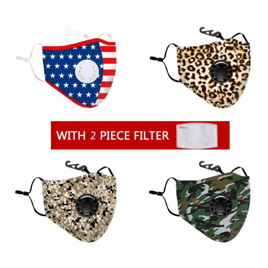 Mode camouflage Leopard coton Masques visage avec Souffle PM2,5 Valve bouche Masque anti-poussière masque de tissu réutilisable avec 2 filtres à l'intérieur